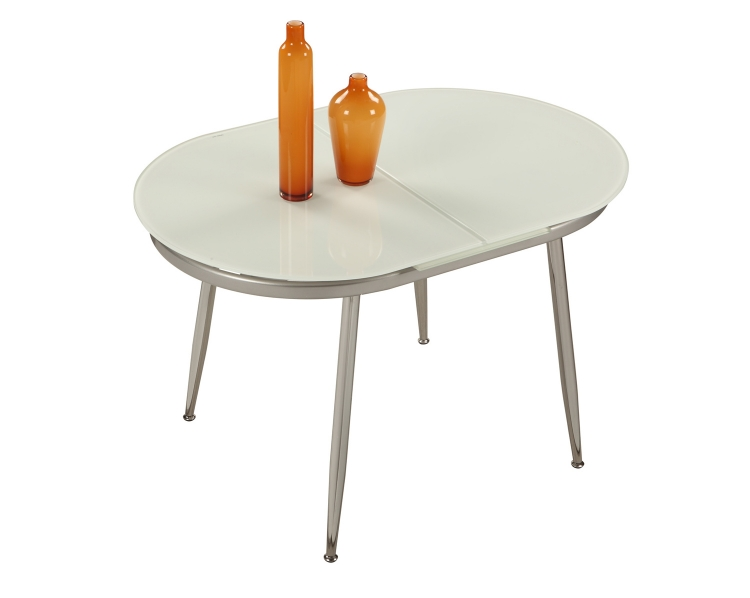 Donna Contemporary Extendable Dining Table - Chrome and White Painted Glass