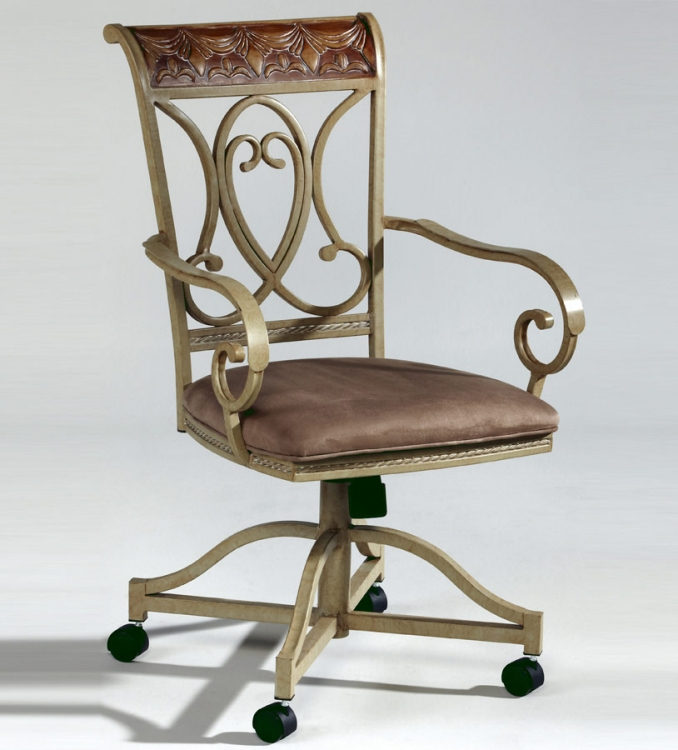 Eden Hand-Painted Arm Swivel Tilt Chair