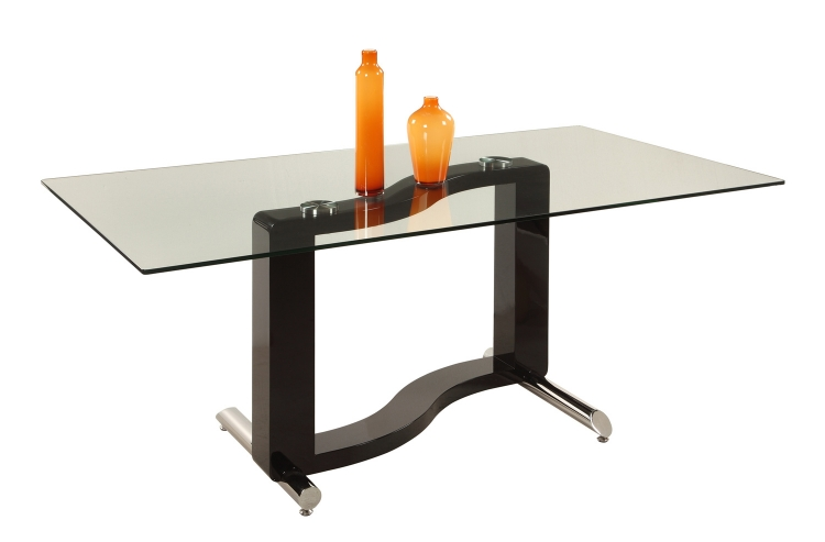 Fenya Rectangular Dining Table - Black and Chrome