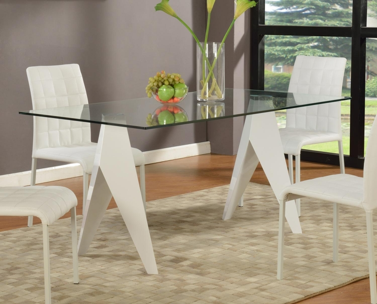 Fielding Rectangular Dining Table - Clear Glass/Gloss White