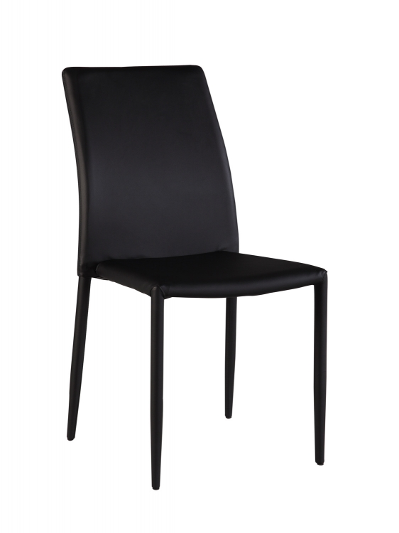 Flona Upholstered Back Side Chair - Black