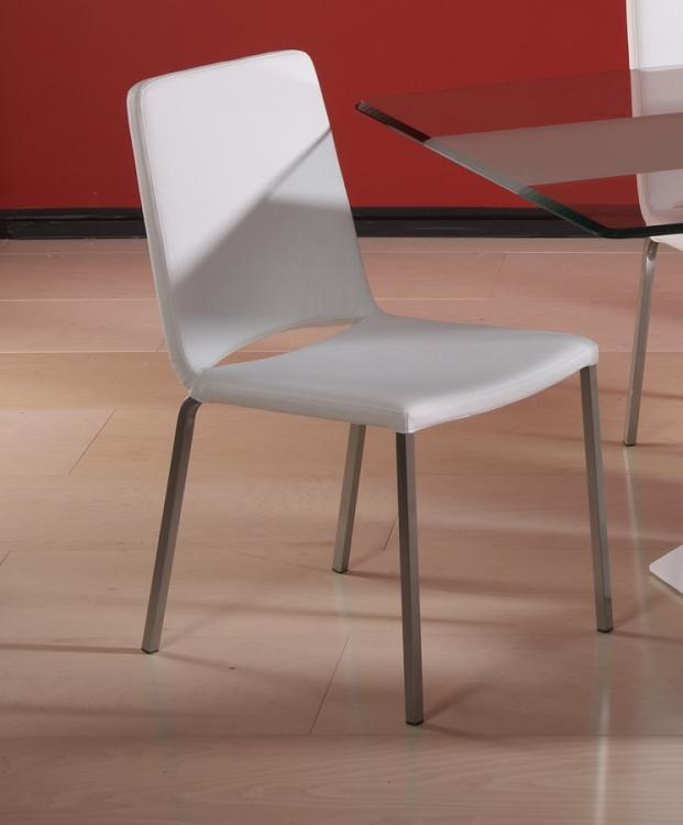 Flair White Modern Cut Back Side Chair