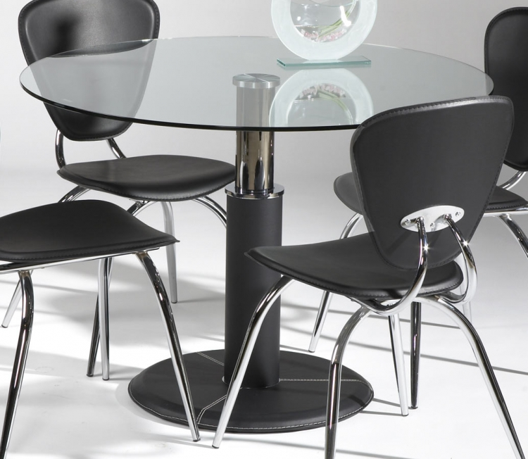 Gladys Round Dining Table with Glass Top