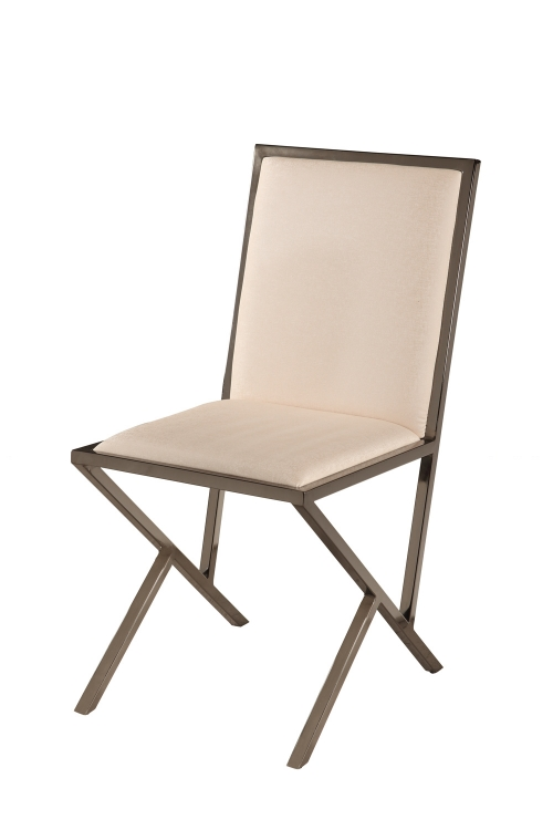 Lauren Modern Side Chair - Beige/Gloss Black Nickel