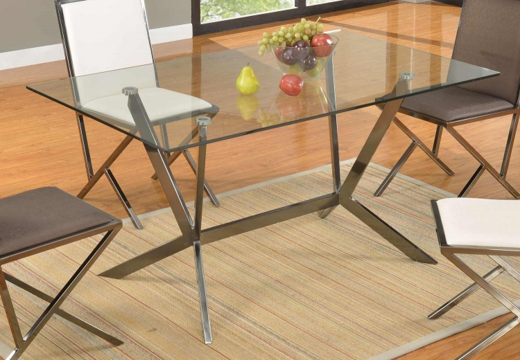 Lauren 15mm Dining Table - Gray Tinted Sandwich/Gloss Black Nickel
