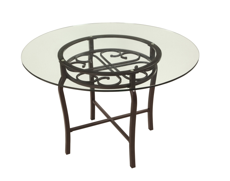 Lily Traditional Dining Table - Clear Glass/Hammered Brown