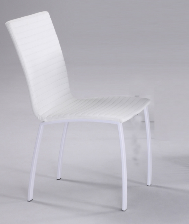 Madeline White Stiched Back and Seat Chair