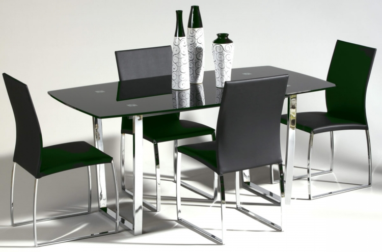 Marcy Contemporary Dining Table Collection - Black - Chintaly Imports