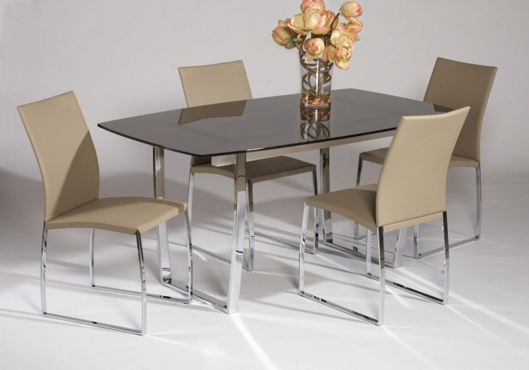 Marcy Contemporary Dining Table Collection - Beige - Chintaly Imports
