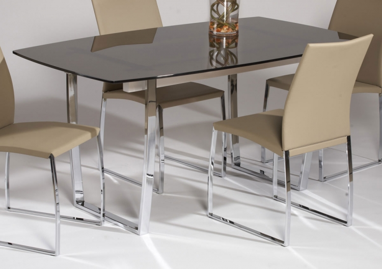 Marcy Contemporary Dining Table - Brown Glass Top - Chintaly Imports