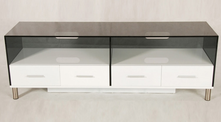 Marina Grey Glass Top TV Stand With Drawer - Chintaly Imports
