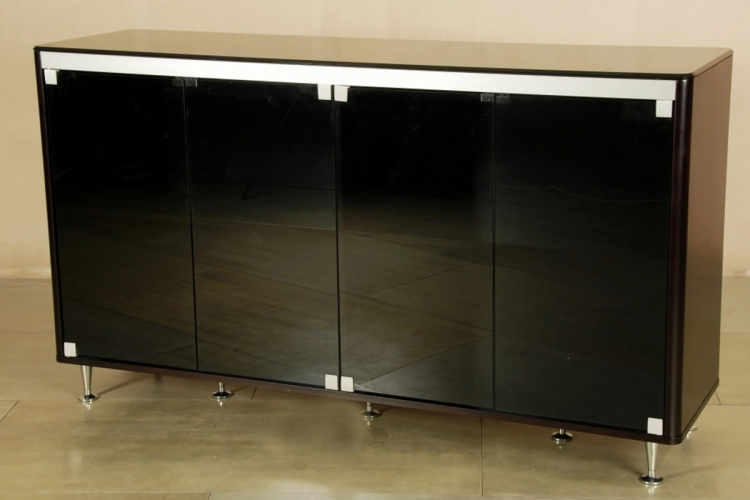 Monique Black Glass Top Buffet - Chintaly Imports