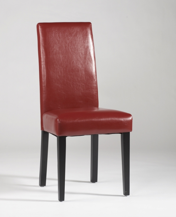 Straight Back Parson Chair - Red - Chintaly Imports