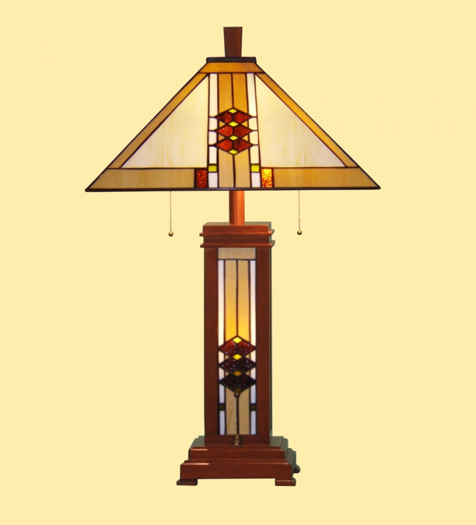 06142 Mission Wood Base Table Lamp - Chintaly Imports