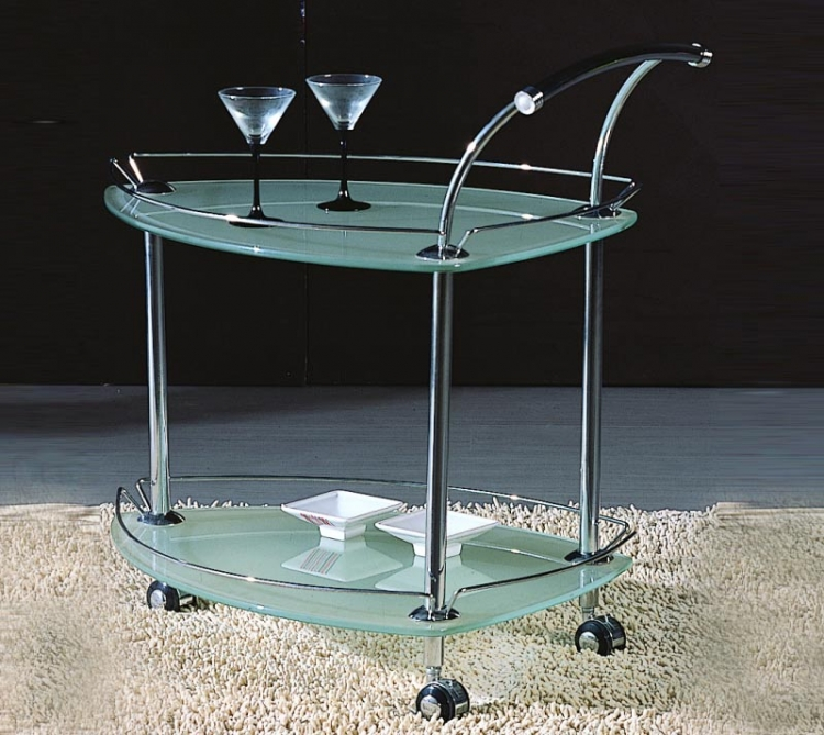 Triangular Glass Rolling Tea Cart - Chintaly Imports