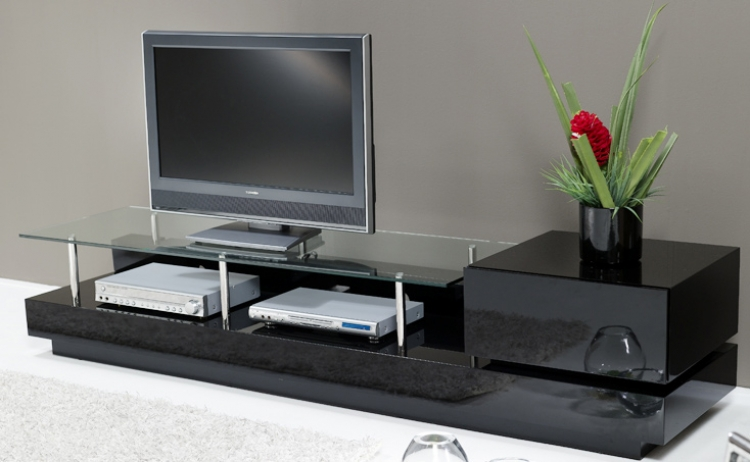 Volani Glass Top TV Stand With Drawer - Chintaly Imports