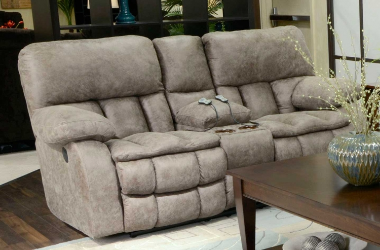 Madden Reclining Console Loveseat with Heat and Massage - Marble