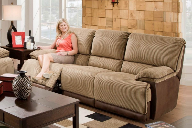 Clayton Power Dual Reclining Sofa - Camel