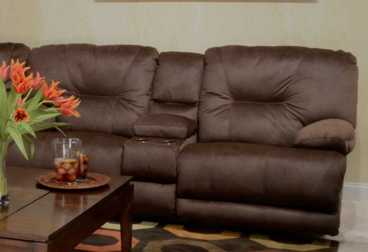 Noble Power Lay Flat Reclining Console Loveseat - Espresso