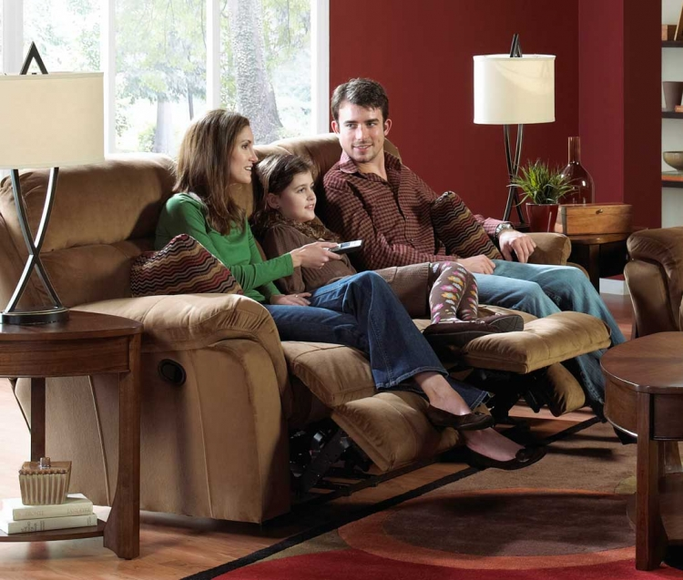 Variables Ultimate Sofa with 3 Recliners and 1 Drop Down Table Pecan