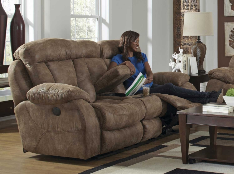 Desmond Power Lay Flat Reclining Console Loveseat with Storage and Cupholders - Mushroom