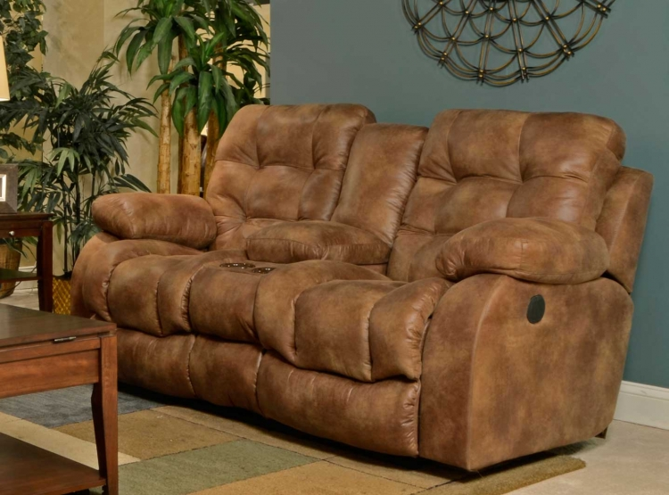 Watson Lay Flat Reclining Console Loveseat with Storage, Cupholders, and USB Port - Almond