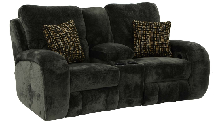 Felton Reclining Console Loveseat with Cupholders and Storage - Charcoal - Catnapper