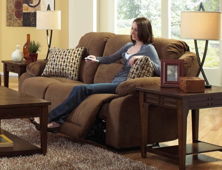 Bryson Reclining Sofa with Drop Down Table - Walnut - Catnapper