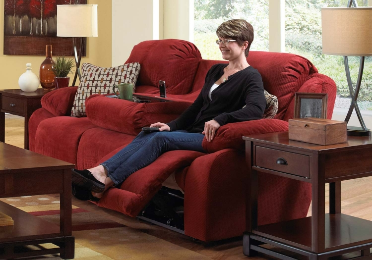 Bryson Reclining Sofa with Drop Down Table - Cayenne - Catnapper
