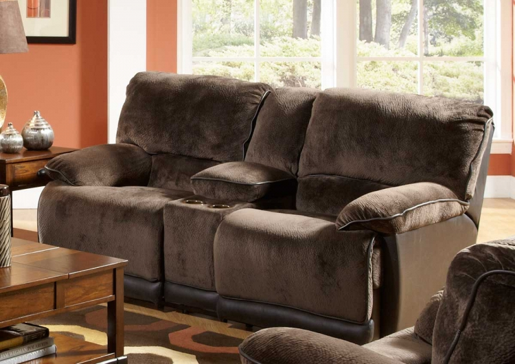 Escalade Dual Reclining Console Loveseat with Storage and Cupholders - Chocolate