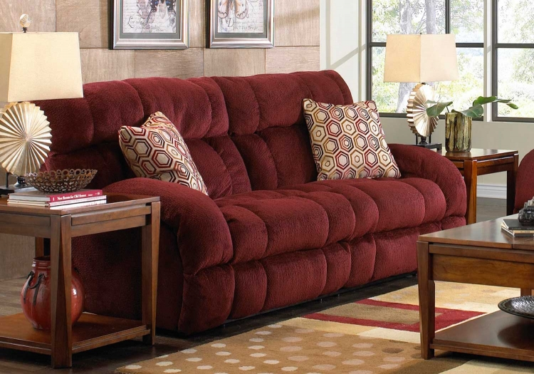 Siesta Power Lay Flat Reclining Sofa - Wine