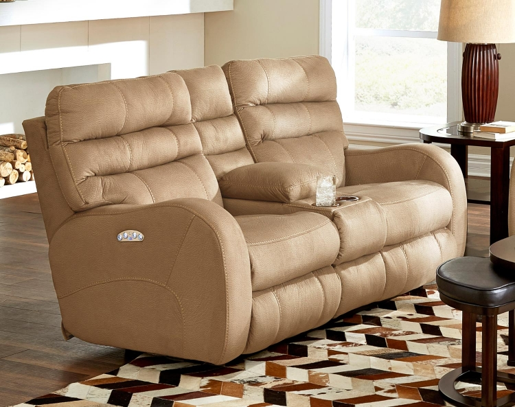 Kelsey Power Headrest Power Lay Flat Reclining Console Loveseat - Doe