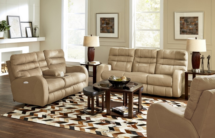 Kelsey Power Headrest Power Lay Flat Reclining Sofa Set - Doe