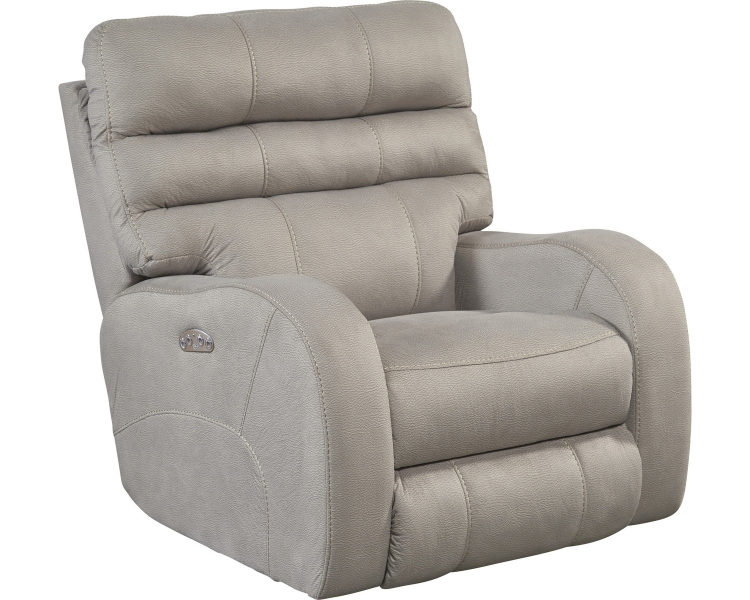 Kelsey Power Headrest Power Lay Flat Recliner - Aluminum