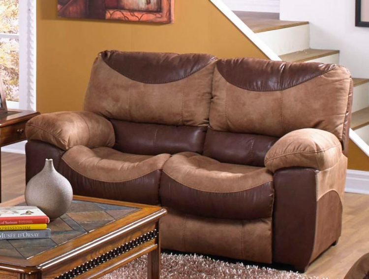 Portman Stationary Non-Reclining Loveseat - Saddle/Chocolate
