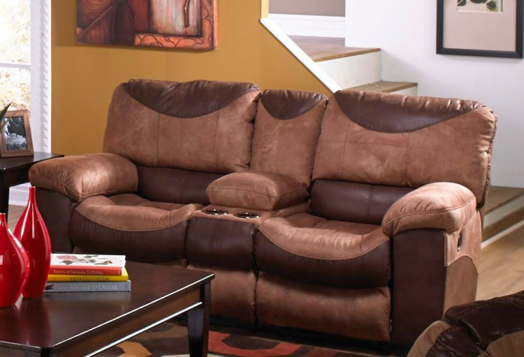 Portman Power Reclining Console Loveseat with Storage and Cupholders - Saddle-Chocolate
