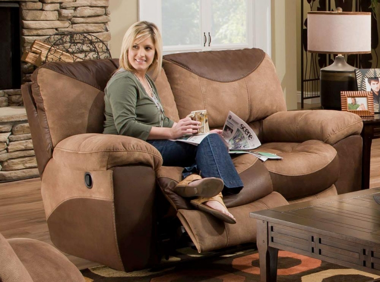 Portman Power Reclining Loveseat - Saddle-Chocolate