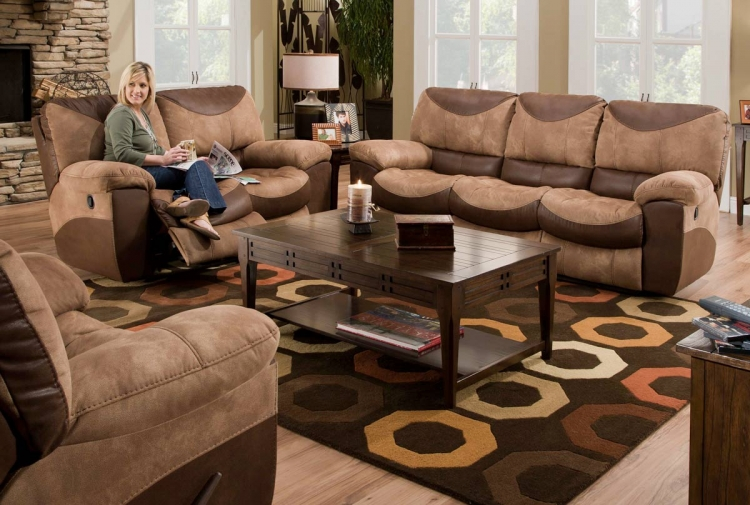 Portman Reclining Sofa Set - Saddle-Chocolate