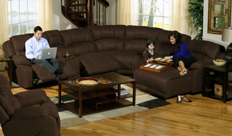 Compass Customizable Sofa Sectional Set 3 - Espresso - Catnapper