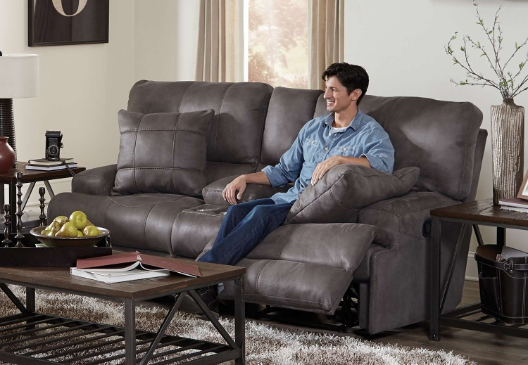 Monaco Reclining Console Loveseat - Charcoal