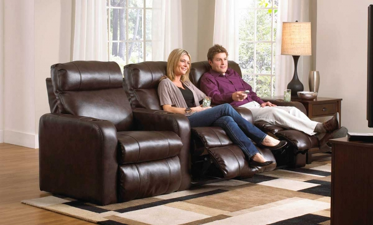 Alliance Bonded Leather Straight Home Theater Group with 3 Recliners - Java - Catnapper