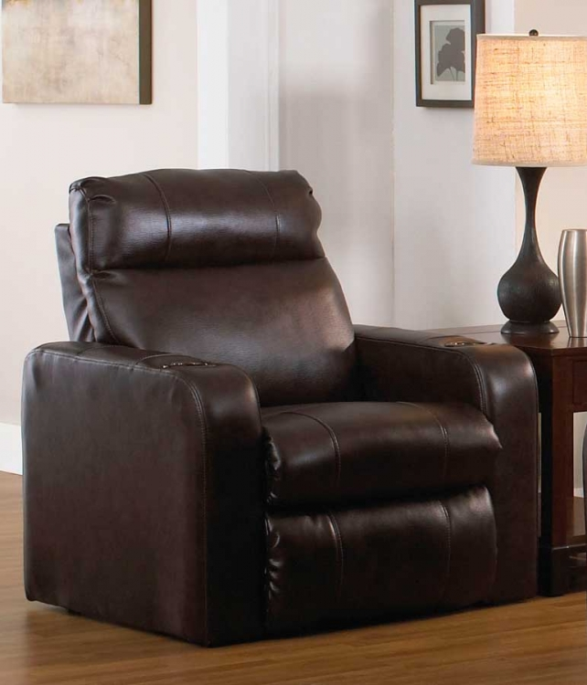 Alliance Bonded Leather Recliner with 2 Straight Arms - Java - Catnapper