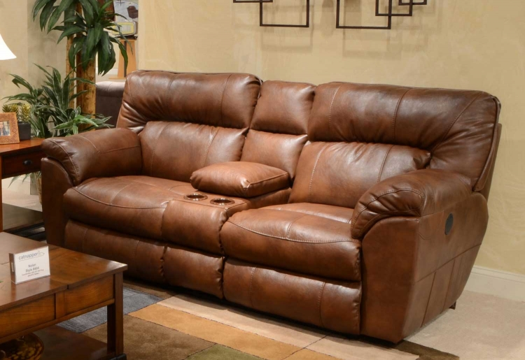 Nolan Leather Extra Wide Reclining Console Loveseat with Storage and Cupholders - Chestnut