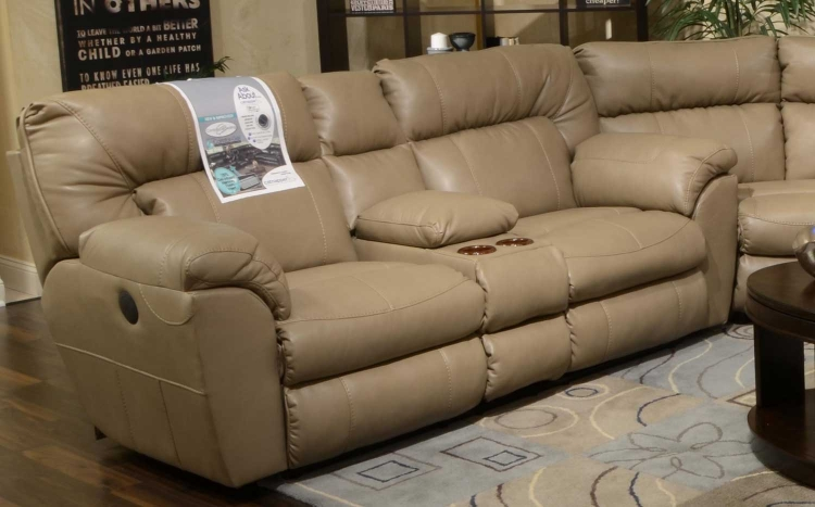 Nolan Leather Extra Wide Reclining Console Loveseat with Storage and Cupholders - Putty