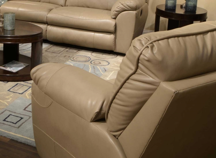 Nolan Leather Extra Wide Cuddler Recliner - Putty
