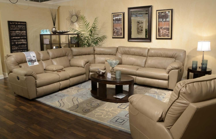Nolan Leather Power Sectional Sofa Set   Putty