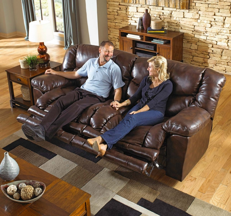 Foster Bonded Leather Power Lay Flat Reclining Sofa with X-tra Comfort Footrest - Havana