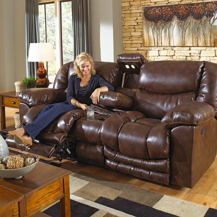 Foster Bonded Leather Lay Flat Reclining Console Loveseat with Lights, Power Outlet, Storage, Cupholders, and X-tra Comfort Footrest - Havana