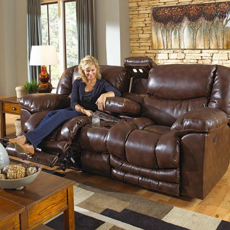 Catnapper Foster Bonded Leather Lay Flat Reclining Sofa Set Havana Cn 4061 Foster Sofa Set