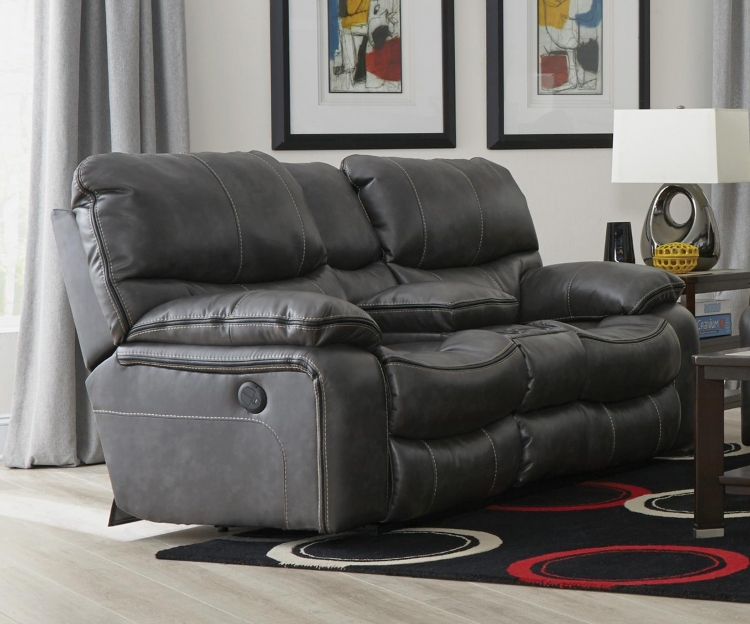 Camden Power Lay Flat Reclining Console Loveseat with Storage and Cupholders - Steel